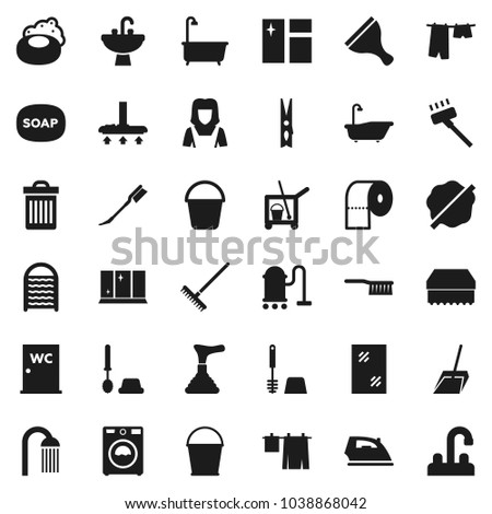 Flat vector icon set - soap vector, plunger, scraper, cleaner trolley, vacuum, fetlock, scoop, rake, bucket, clothespin, sponge, trash bin, car, window cleaning, splotch, iron, bath, drying clothes