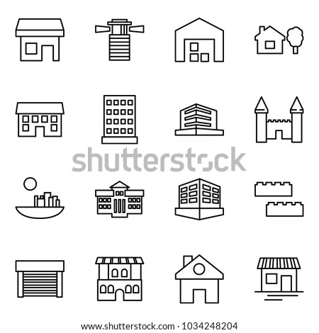 Flat vector icon set - store vector, lighthouse, warehouse, home and tree, house, hotel, office, mansion, castle, university, building, blocks, garage, restaurant, shop