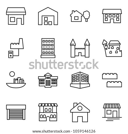 Flat vector icon set - store vector, warehouse, home and tree, house, factory server, hotel, mansion, castle, university, building, blocks, garage, restaurant, shop