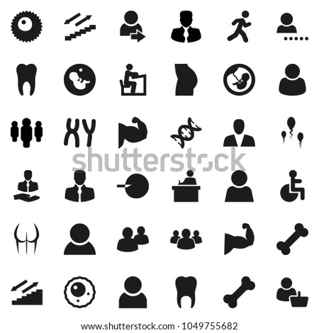 Flat vector icon set - student vector, manager, man, muscule hand, buttocks, stairways run, bone, client, group, disabled, dna, pregnancy, insemination, chromosomes, sperm, ovule, tooth, user, login #1049755682