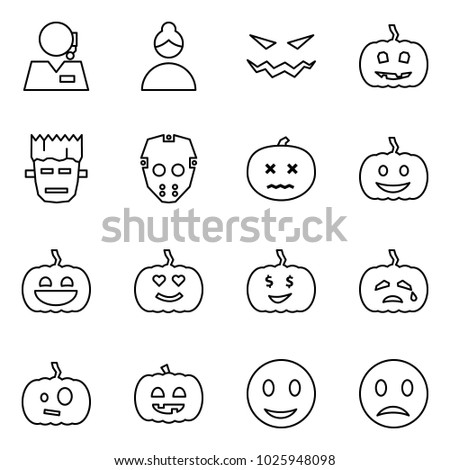 Flat vector icon set - support vector, woman, scary face, pumpkin, frankenstein, mask, dead, helloween, smile, melancholy