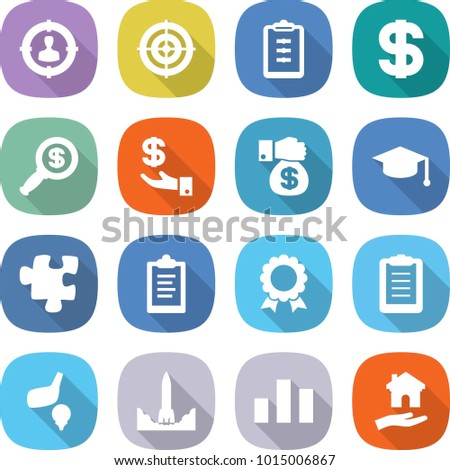 flat vector icon set - target audience vector, clipboard, dollar, magnifier, investment, money gift, graduate hat, puzzle, medal, golf, rocket start, chart, housing