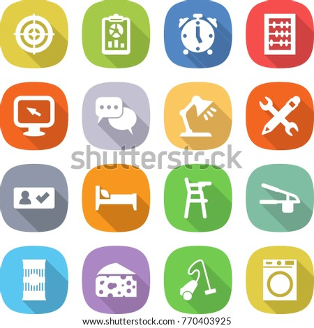 flat vector icon set - target vector, report, alarm clock, abacus, monitor arrow, discussion, table lamp, pencil wrench, check in, bed, Chair for babies, garlic clasp, pasta, cheese, vacuum cleaner