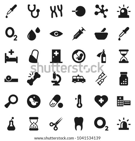 Flat vector icon set - thermometer vector, pills, molecule, heart cross, oxygen, flask, eye, magnifier, pregnancy, insemination, syringe, dropper, crutches, scissors, broken bone, sand clock, bottle