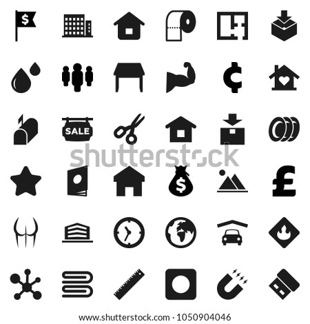 Flat vector icon set - towel vector, plates, toilet paper, ruler, magnet, scissors, molecule, money bag, man, dollar flag, pound, cent sign, muscule hand, buttocks, earth, clock, package, flammable