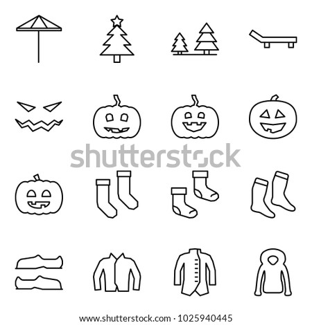 Flat vector icon set - umbrella vector, christmas tree, forest, lounger, scary face, pumpkin, helloween, socks, galoshes, jacket
