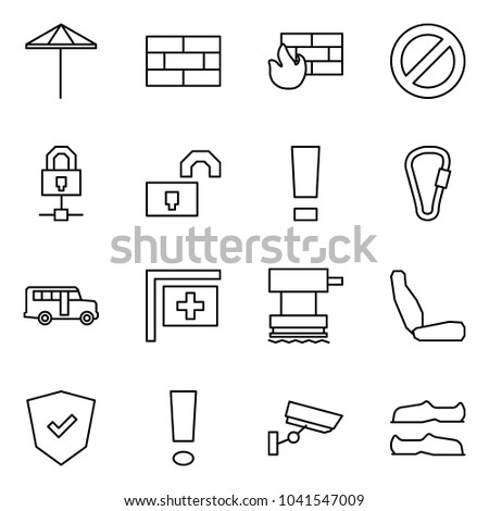 Flat vector icon set - umbrella vector, firewall, prohibition sign, locked connect, unlocked, warning, spring hook, school bus, medical post, grinder, seat, shield, information, surveillance
