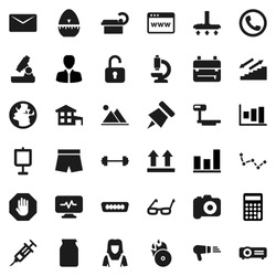 Flat vector icon set - vacuum cleaner vector, woman, cook timer, jar, glasses, backpack, microscope, paper pin, presentation, constellation, graph, manager, calculator, barbell, shorts, earth, hdmi