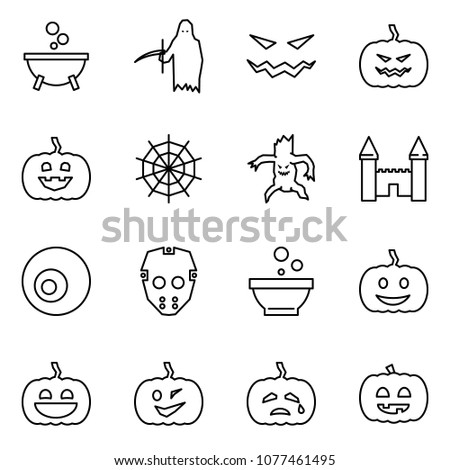 Flat vector icon set - witch cauldron vector, grim reaper, scary face, pumpkin, web, monster, mansion, eye, mask, helloween