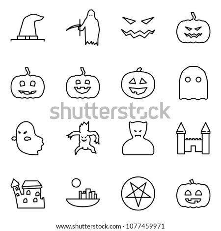 Flat vector icon set - witch hat vector, grim reaper, scary face, pumpkin, ghost, monster, vampire, mansion, castle, pentagram, helloween