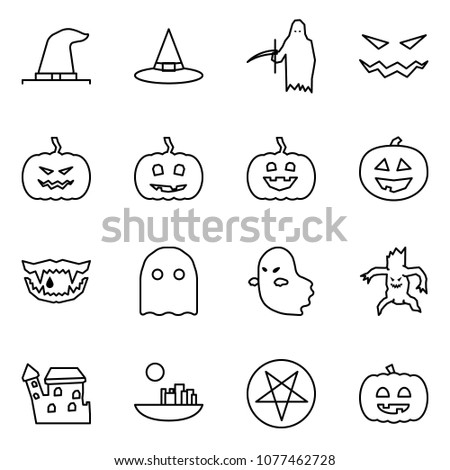 Flat vector icon set - witch hat vector, grim reaper, scary face, pumpkin, monster jaws, ghost, castle, pentagram, helloween