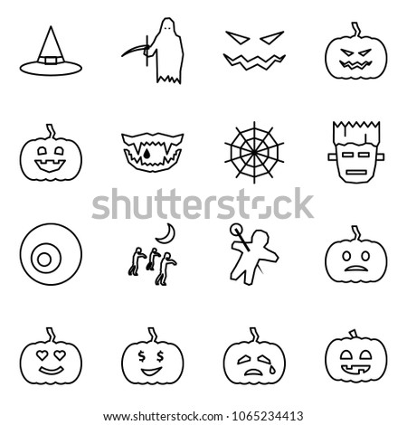 Flat vector icon set - witch hat vector, grim reaper, scary face, pumpkin, monster jaws, web, frankenstein, eye, zombie, woodoo doll, helloween