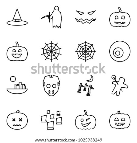 Flat vector icon set - witch hat vector, grim reaper, scary face, pumpkin, web, eye, castle, mask, zombie, woodoo doll, dead, cemetery, helloween