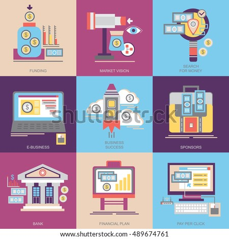 Flat vector icons. Business and marketing. Funding, market vision, search for money, e-business, business success, sponsors, bank, financial plan, pay per click.