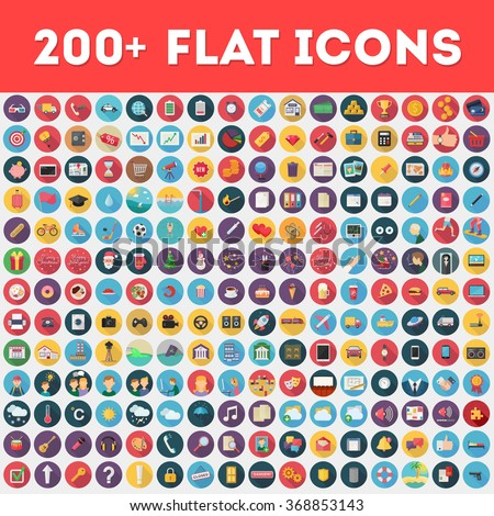 Flat vector icons pack - Shutterstock ID 368853143