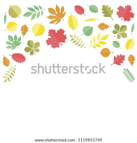 Flat vector illustration: autumn tree leaves (elm, beech, ash, linden, birch, alder, aspen, willow, maple,  poplar, rowan,, walnut, apple, oak, acacia, chestnut, conker) isolated on whtie background