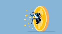 flat vector illustration businessman speed running breakthrough to dollar coin money concept