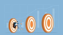 flat vector illustration businessman speed running breakthrough to target success concept