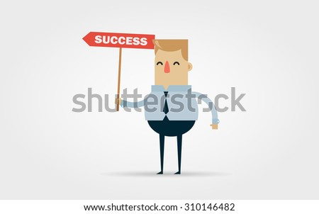 """Flat Vector Illustration: Cartoon Office Worker with a Red """"Success"""" Sign"""