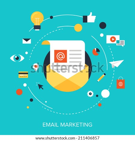 Flat vector illustration concept of e-mail marketing on blue background