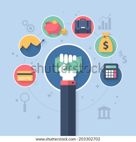 Flat vector illustration for online banking and control finance application - Shutterstock ID 203302702