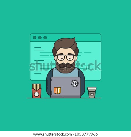 Flat Vector Illustration in Outline Style of a Coder or Geek in Programming Participates in Hackathon