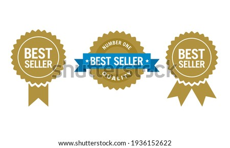 Flat vector illustration of a best seller sign label. Perfect for  design element of the best products and bestseller retailer. Simple top seller badge icon set.  ストックフォト ©
