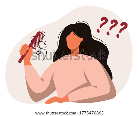 Flat vector illustration of a female with a comb in hand. Hair loss, alopecia in young age, hair problems, baldness.