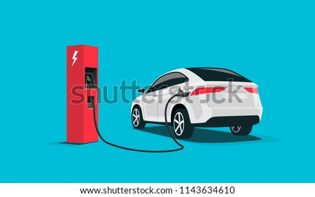 Flat vector illustration of a white electric car suv charging at the red charger station. Electromobility e-motion concept.