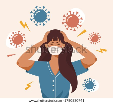 Flat vector illustration of a woman that clutches at head with both hands. Covid 19 causes headache, panic, fright, depression. Stress, irritation from coronavirus, badmood Foto stock ©