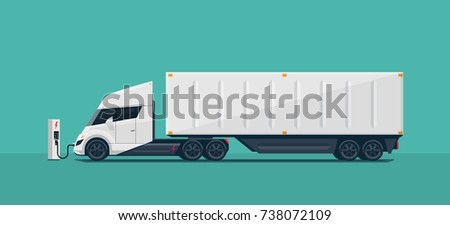 Flat vector illustration of an abstract futuristic white electric semi trailer truck with trailer in modern design with sleeper cabin charging at the charger station. Side view, cartoon style.