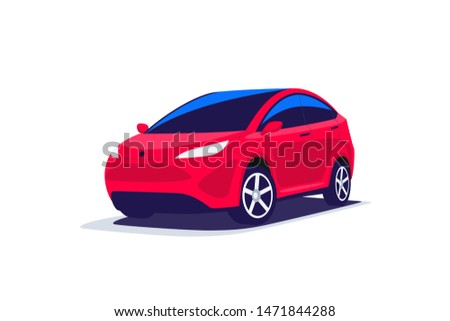 Flat vector illustration of an abstract modern design red suv compact crossover offroad car transport. Front perspective view on parking family vehicle. Isolated on white background.