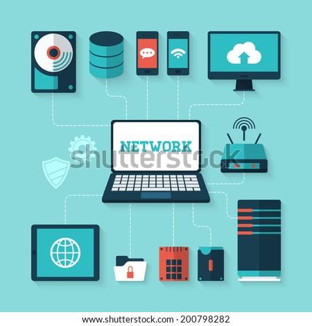 Flat vector illustration of computer network concept Foto stock ©