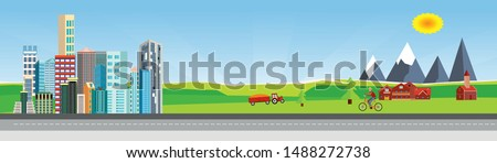 Flat vector illustration of  countryside  landscape urban street with cars, houses , family houses in small town and mountain  in background. Banner horizontal panorama.