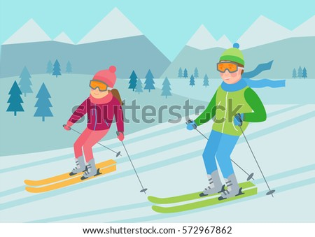 Flat vector illustration of couple skiing in the mountains. Winter sport  and recreation. Ski resort with young man and woman.