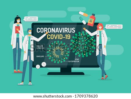 Flat vector illustration of doctors in masks on green background tell about coronavirus internal structure pointing on a tv or computer monitor. COVID-19 has Spikes, Glycoprotein, RNA. There are pills