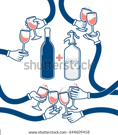 Flat vector illustration of drinking wine and soda, cheers, clinking glasses, party