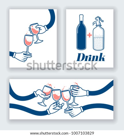 Flat vector illustration of drinking wine and soda, cheers, clinking glasses, party on white card