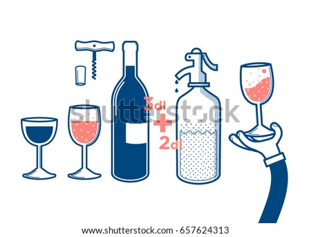 Flat vector illustration of drinking wine and soda water, cheers, clinking glasses, party, cork-screw