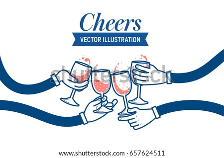 Shutterstock Flat vector illustration of drinking wine and soda water, cheers, clinking glasses, party, four hands. Drink with friends.