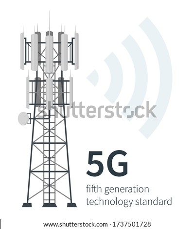 Flat vector illustration of fifth generation mast base stations on white background, 5G mobile data towers, telecommunication antennas and signal, cellular equipment. Stock fotó ©