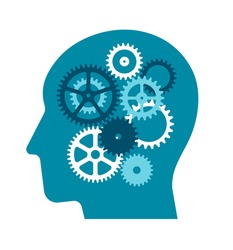 Flat vector Illustration of gear as a metaphor for the human brain ( Business , AI and inspiration )