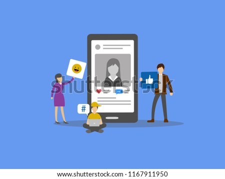 flat vector illustration of group of people using social media features concept around a abstract smartphone.  #1167911950