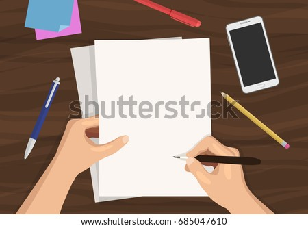 Flat vector illustration of man's hands holding and writing on paper on wooden desk