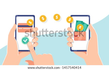 Flat vector illustration of Mobile payment transfer. People sending and receiving money wireless with their mobile phones. Hands holding smartphones with online banking payment apps. Mobile wallet