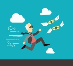 Flat vector illustration of old businessman with glasses, who run for the money on sky background