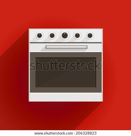 Flat vector illustration of oven. White oven with gray door. Flat vector illustration on red background.