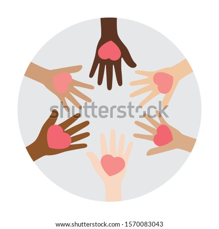 Flat vector illustration of people with different skin colors putting their hands together, holding pink heart, on grey circle background. Unity concept.