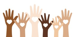 Flat vector illustration of people with different skin colors raising their hands. Unity concept.