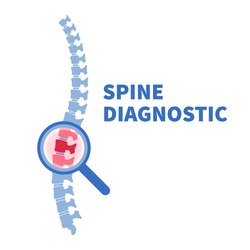Flat vector illustration of problem with human spine silhouette. Concept of diagnostic pain in vertebral column. Backbone icon for orthopedic, osteopathy, surgery